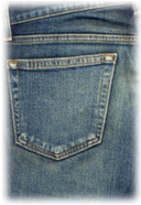 Pocket on worn blue jeans...denim at its best!